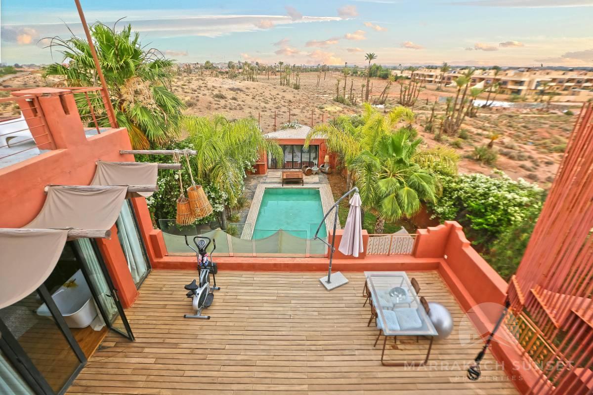 Superbe villa de luxe moderniste à vendre Marrakech dans la Palmeraie
